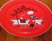 Vintage RED\/BLACK large  barbeque  19 inch  metal serving  tray