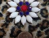 Vintage RED WHITE BLUE prong set flower pin PATRIOTIC
