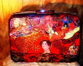 Vintage red 1960's Samsonite suitcase For the Love of  Klimt by recycled artist C. Reinke.