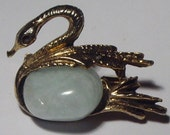 Vintage brass and white agate  belly  swan pin the symbol of everlasting love