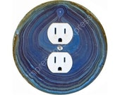 Blue Geode Stone Duplex Outlet Plate Cover