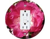 Double Tulip Flower GFI Outlet Plate Cover