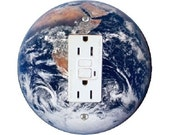 Planet Earth from Space Grounded GFI Outlet Plate Cover