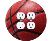 Burgundy Basketball Sports Double Duplex Outlet Plate Cover