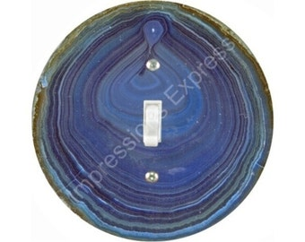 Blue Geode Stone Single Toggle Switch Plate Cover