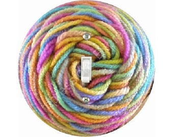Pastel Knitting Wool Yarn Single Toggle Switch Plate Cover