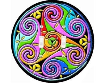 Celtic Triskel Double Toggle Switch Plate Cover
