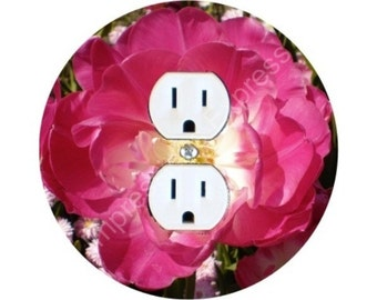 Double Tulip Flower Duplex Outlet Plate Cover