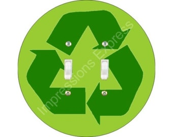 Recycle Symbol Double Toggle Light Switch Plate Cover
