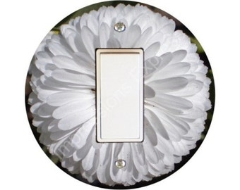 White Daisy Flower Decora Rocker Switch Plate Cover