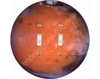 Red Planet Mars Double Toggle Switch Plate Cover