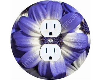 Blue Daisy Flower Duplex Outlet Plate Cover