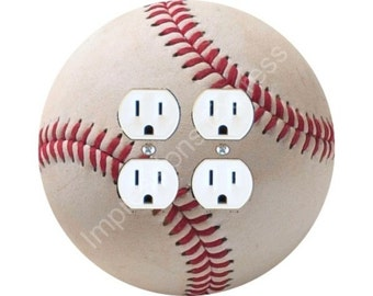 White Baseball Double Duplex Outlet Plate Cover