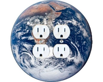 Planet Earth From Space Double Duplex Outlet Plate Cover