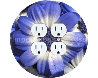 Blue Daisy Flower Double Duplex Outlet Plate Cover