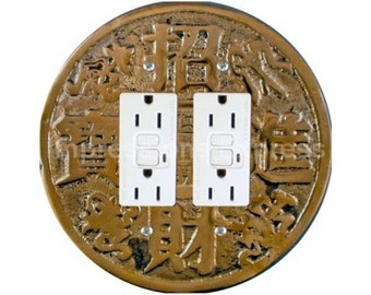 Chinese Fortune Coin Double GFI Outlet Plate Cover