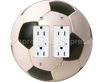 Soccer Sports Ball Double GFI Outlet Plate Cover A