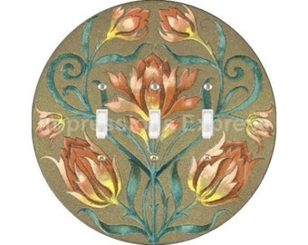 Victorian Floral Triple Toggle Switch Plate Cover