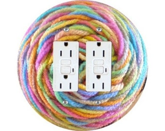 Pastel Knitting Wool Yarn Double GFI Outlet Plate Cover