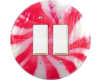 Peppermint Candy Decora Double Rocker Switch Plate Cover
