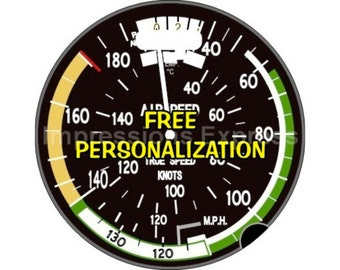 Aviation Airspeed Indicator Pilot Personalized Luggage Bag Tag