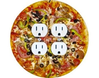 Supreme Pizza  Double Duplex Outlet Plate Cover