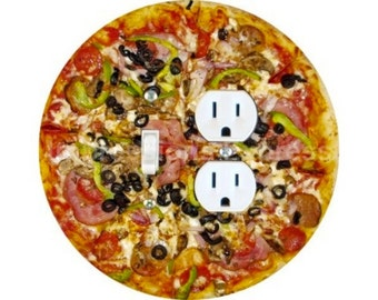 Supreme Pizza Toggle Switch and Duplex Outlet Double Plate Cover