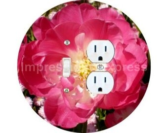 Double Tulip Flower Toggle Switch and Duplex Outlet Double Plate Cover
