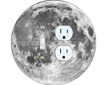 Moon from Space Toggle Switch and Duplex Outlet Double Plate Cover