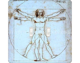 Vitruvian Man Da Vinci Drawing Square Double Toggle Light Switch Plate Cover