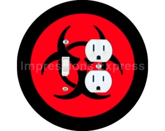 Biohazard Sign Toggle Switch and Duplex Outlet Double Plate Cover
