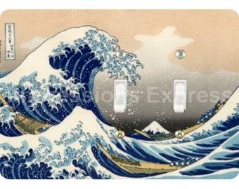 Kanagawa Great Wave Hokusai Painting Double Toggle Light Switch Plate Cover