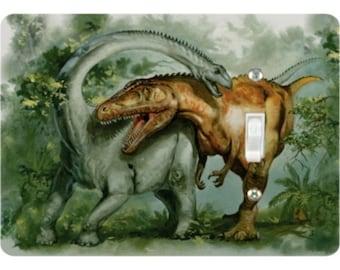 Rebbachisaurus and Giganotosaurus Dinosaur Single Toggle Light Switch Plate Cover