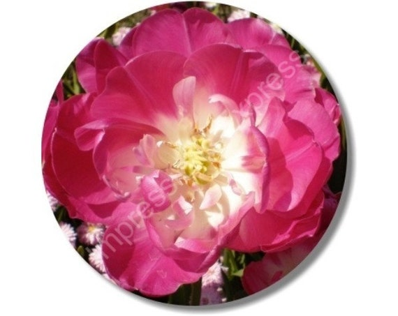 Double Tulip Flower Round Mousepad