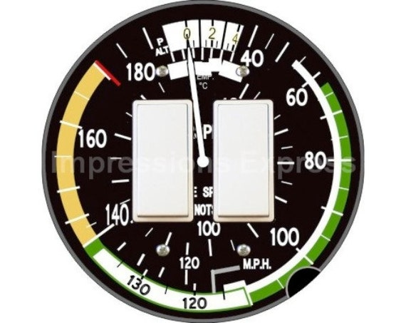 Aviation Airspeed Indicator Decora Double Rocker Switch Plate Cover