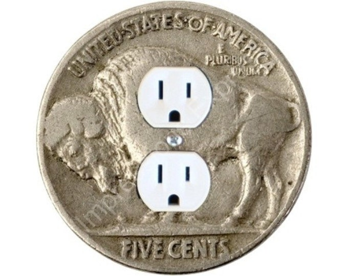 Buffalo Nickel Coin Duplex Outlet Plate Cover