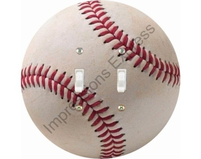 White Baseball Double Toggle Light Switch Plate Cover