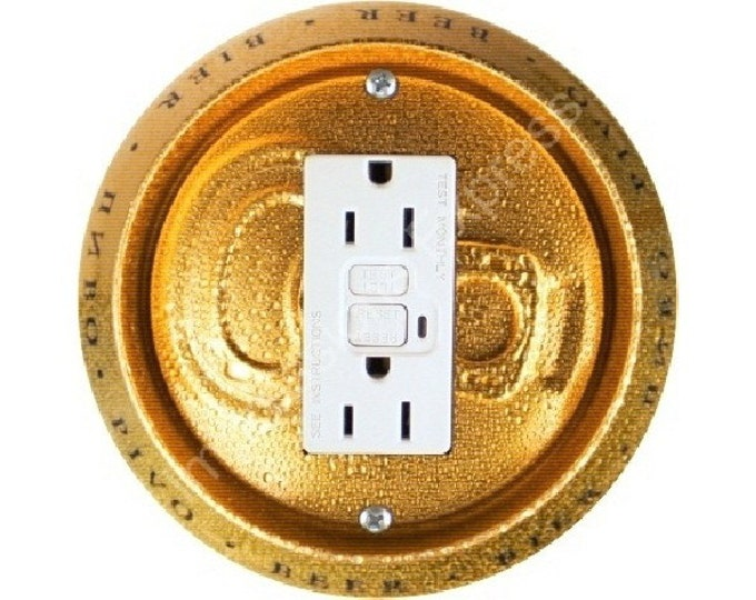 Beer Can Grounded GFI Outlet Plate Cover