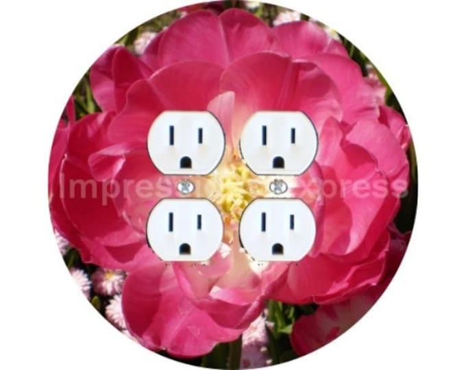 Double Tulip Flower Double Duplex Outlet Plate Cover