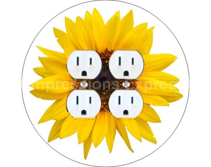 Sunflower Flower Double Duplex Outlet Plate Cover