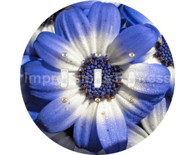 Blue Daisy Flower Triple Toggle Switch Plate Cover