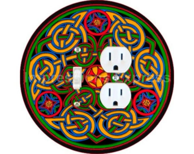 Celtic Knot Design Toggle Switch and Duplex Outlet Double Plate Cover