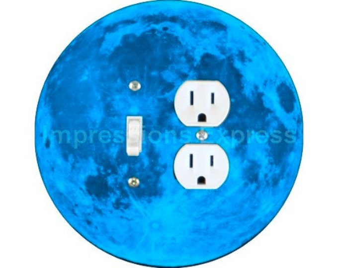 Blue Moon Toggle Switch and Duplex Outlet Double Plate Cover