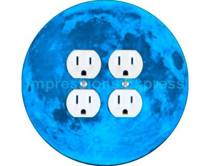 Blue Moon Double Duplex Outlet Plate Cover