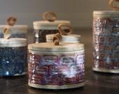 Short Magenta Pink Japanese Scandinavian Modern Stoneware Canister Jar