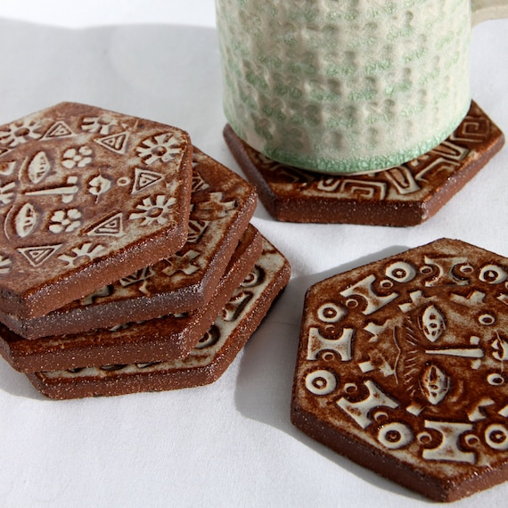 Rustic Modern Ceramic Sun Coasters - Set of Six - Rusty Creamy White Glaze