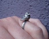 Solid Silver Perched Bird Ring