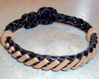 Kangaroo leather laced bracelet