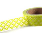 SALE - LIME Green / ORANGE Plaid - Washi Decorative Tape - 11 yards (10 meters) - craft supplies, card making, weddings, planner stickers