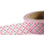 PINK / GREEN Plaid - Japanese Washi Style Decorative Masking Tape - 11 yards (10 meters)